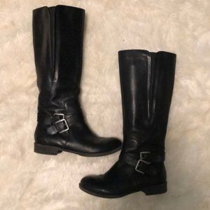 """Kelly & Katie Black Leather 'Rusty"""" Buckle Boots 7"""